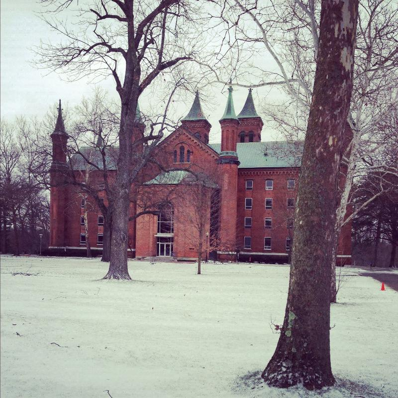 Antioch Hall and the rest of the Antioch College campus saw some snow over the winter break. (Photo by Sara Goldstein '16)