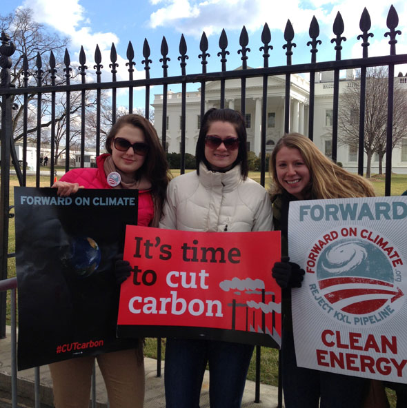 This weekend, 21 students traveled to Washington, D.C. to protest at the Forward On Climate rally to address the climate crisis and to encourage President Barack Obama to reject the Keystone XL tar sands pipeline. (L-R) Sara Goldstein '16, Jordan Berley '16, and Chelsia Carpentier '16.