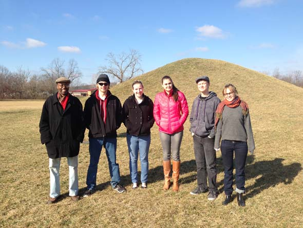 "On Saturday morning, a group of students from Professor Kevin McGruder's ""Ohio Stories"" class traveled to Hopewell National Park in Chillicothe, Ohio to visit the 2,000-year-old ancient mounds of the Hopewell people."