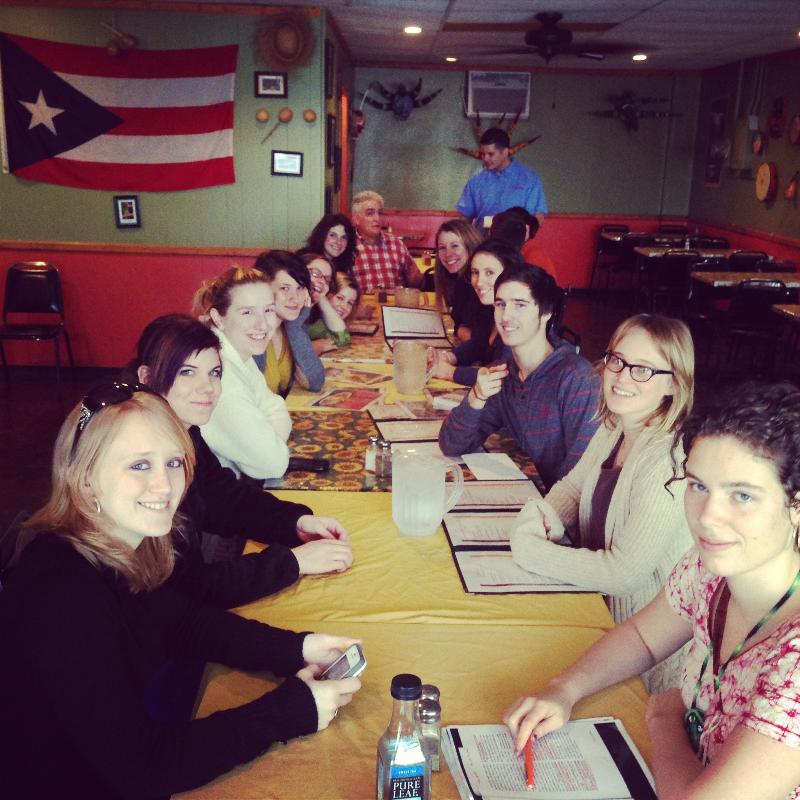 A group of students from an Antioch Spanish class traveled to Dayton last week to tutor a group of Spanish-speaking students. On the way back, the group stopped at Antojitos Criollos, a authentic Puerto Rican restaurant!