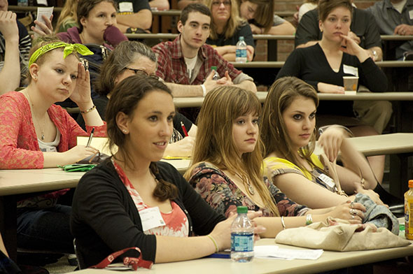 Students listening on visit day