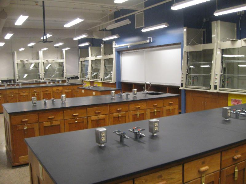 A sneak peek at the Science Building renovation. This is a renovated lab on the second floor. The cabinets below the benches were rebuilt and refinished by volunteers.