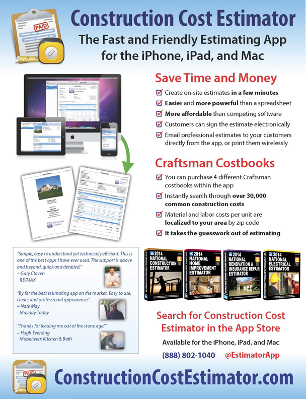 Construction Cost Estimator App By Wasatch Digital Media