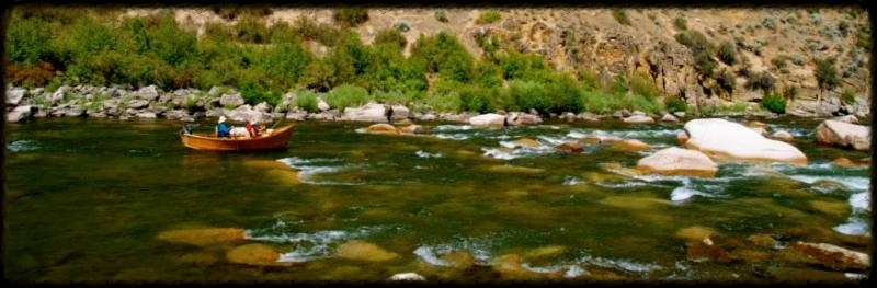 Drift boat on Middle Fork Salmon River Idaho