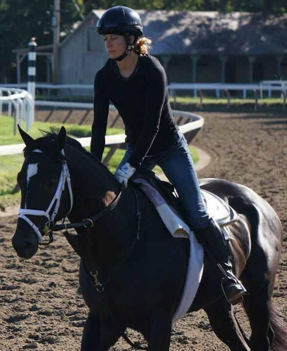 Bobby w wexercise rider Adele Bellinger in the irons