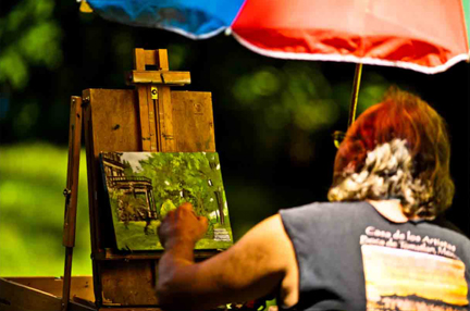Bob painting in plein air at the Forbes House Museum, Milton MA