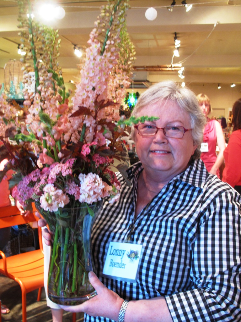 Lonny with her winnng bouquet