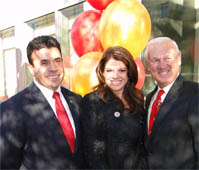 County Health and Human Services Agency (HHSA) Director and First 5 Commissioner Nick Macchione, First 5 San Diego Executive Director Kim Medeiros, County Supervisor Ron Roberts at Father Joe's Villages Ribbon Cutting Event, December 8, 2011