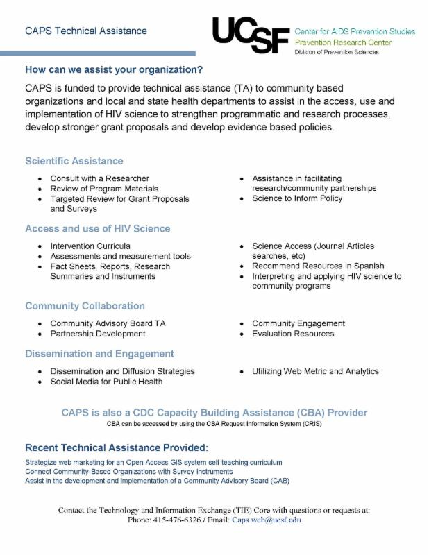 CAPS Technical Assistance one-page fact sheet 2016