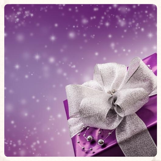 Christmas or Valentine s purple gift with silverribbon abstract  background.Christmas time.