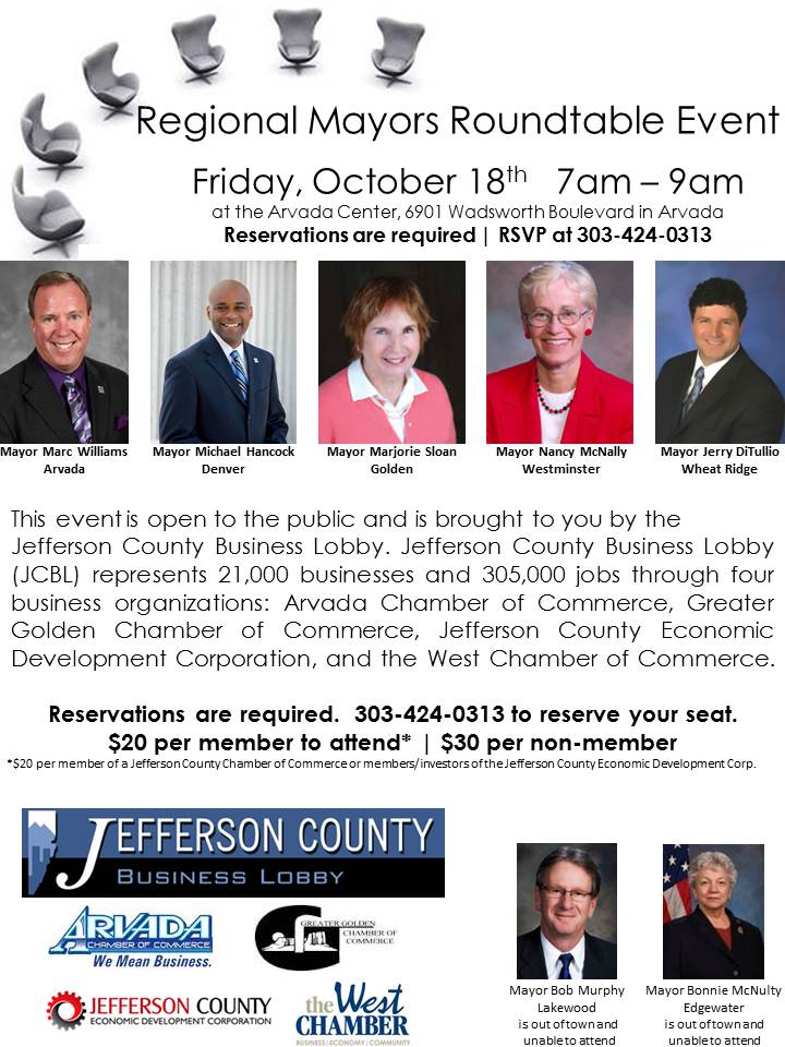 Regional Mayors Roundtable Event October 18 Reservations Required