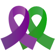 two ribbons. one purple and one green