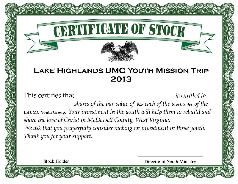 Stock Certificate ~ youth mission trip