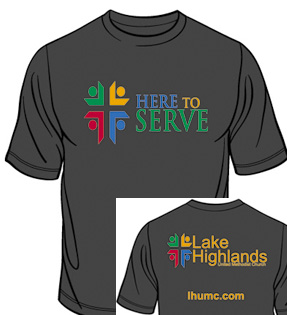 Here to Serve t-shirt front and back