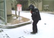 CPLC Sidewalk Counselor offering loving alternatives to abortion despite snowy conditions