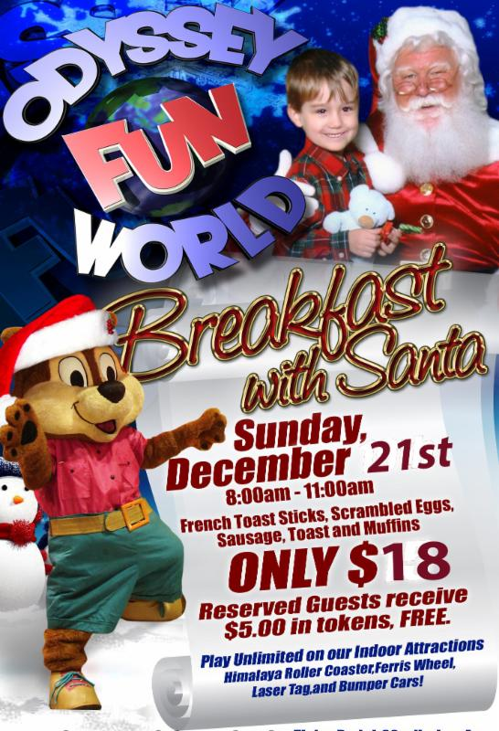 What? Breakfast Buffet with the big guy and unlimited attractions including Rides, Exploration Adventure, Laser Tag and Gamer's Lounge!