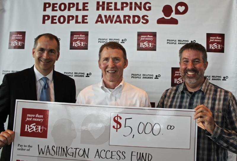 Jack Brummel & Alan Knue accepting $5,000 check from BECU