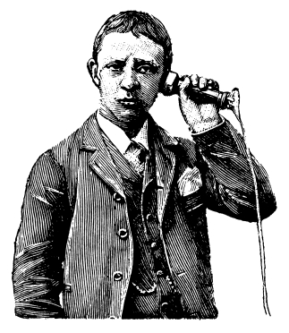 man on old telephone