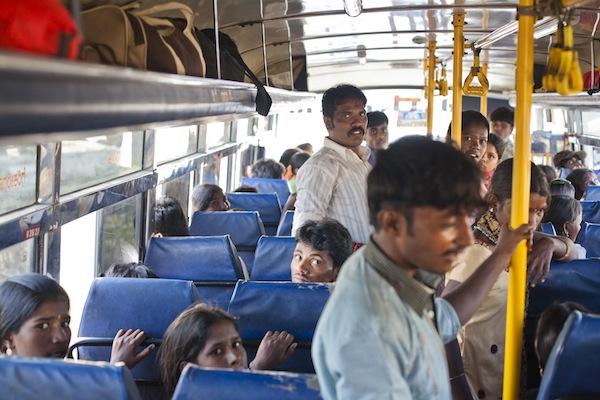 India raid bus view