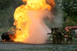 Live burn demonstration at propane industry responder conference in Virginia Beach, Va., May 11 and 12