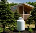 Propane tank at green cabin in New York