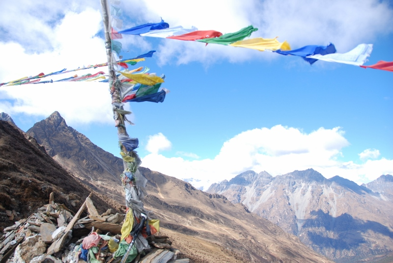 prayer flags on mountain pass