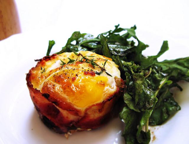 Bacon Wrapped Eggs & Arugula
