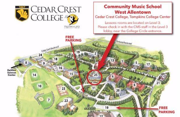 PHOTO:  Cedar Crest College Map