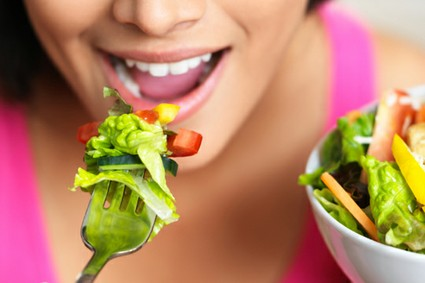 woman eating plant rich foods