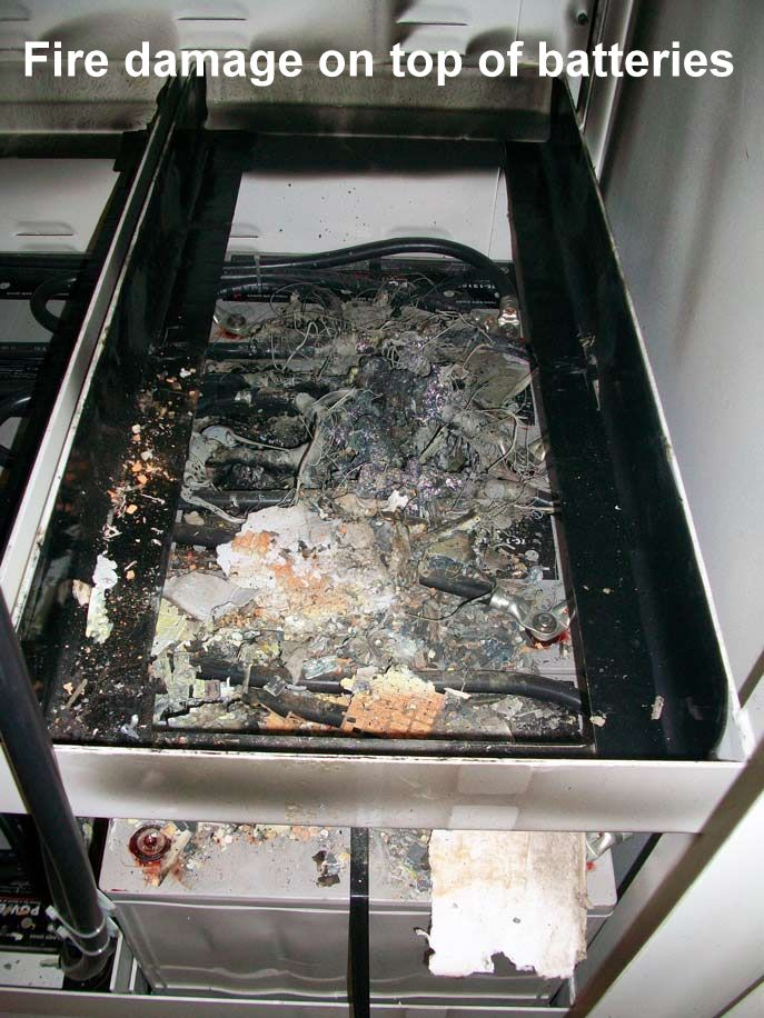 Fire damage on batteries