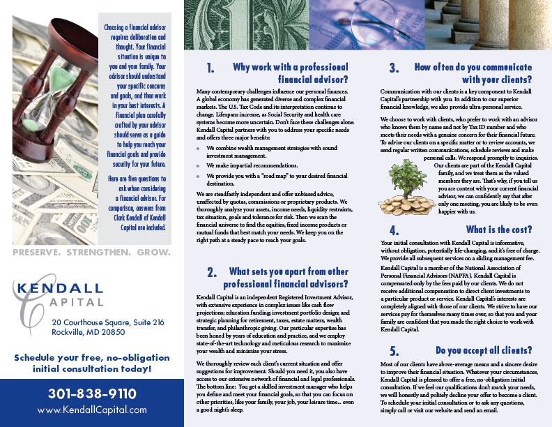 Kendall Capital trifold brochure
