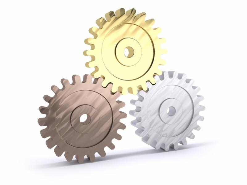 Three gears bronze silver and gold as a poduim concept of winning