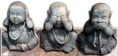 Hear No See Speak Evil Baby Buddha Statues