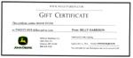 John Deere Gift Certficiate