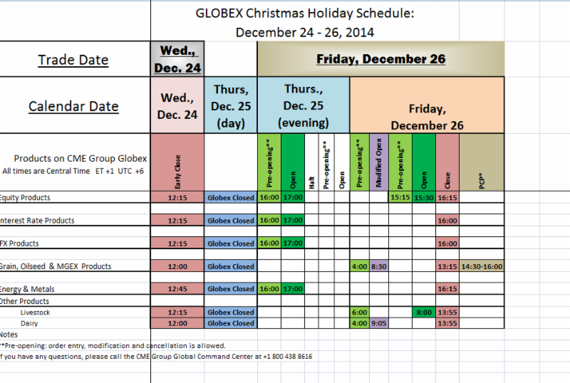 Globex Christmas Holiday Schedule