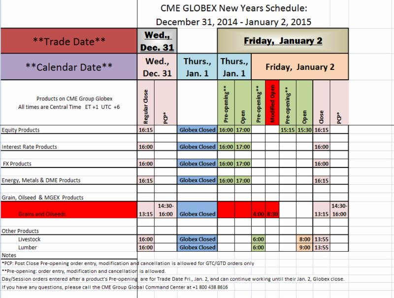 CMX Globex New Year Schedule