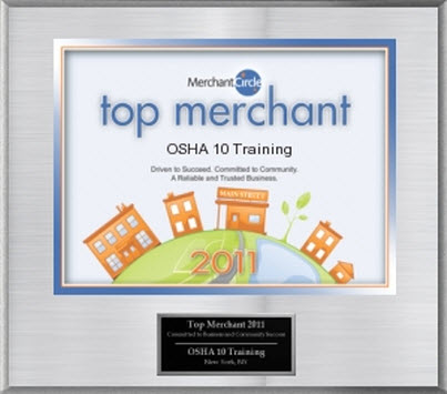 OSHA 10 top merchant award
