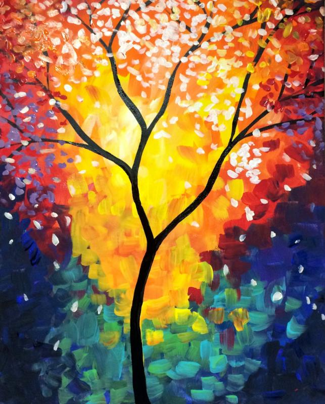 Kids open paint class abstract tree for Paintings of toddlers