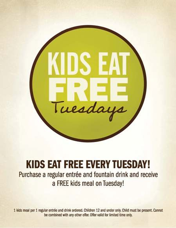 Lone Star Steakhouse {Kids Eat Free on Tuesdays} Freebies • Kids Eat Free Kids eat free every Tuesday (all day!) with the purchase of a regular priced adult entree.
