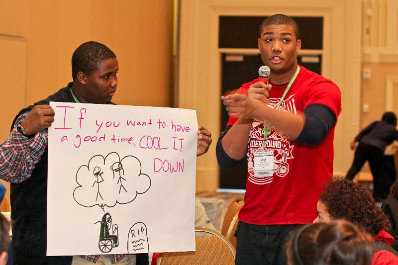 Derek and Tae'Von at a CADCA session