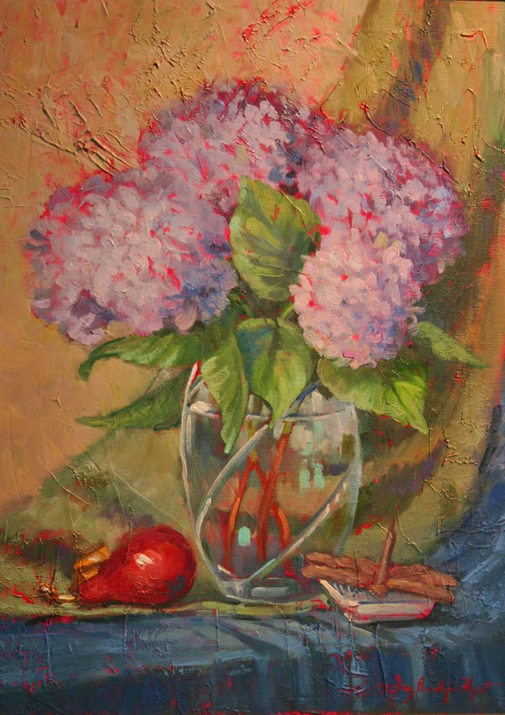 'Hydrangia Still Life' 20x16 oil on canvas board by Fay Bridges Hyatt
