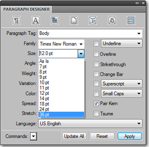 Adobe FrameMaker: Font Size List Prior to Editing the maker.ini file