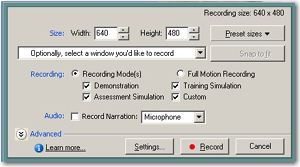 Captivate 3 Multiple Recording Modes selected