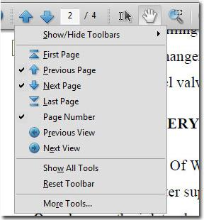 Available toolbar commands (buttons)