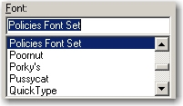 The Font Set appears in the Font list