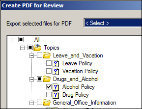 PDF for Review: Deciding which topics to include in the PDF