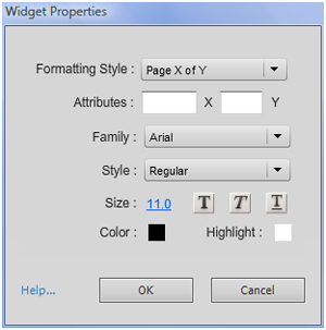 SlideNumbering widget properties