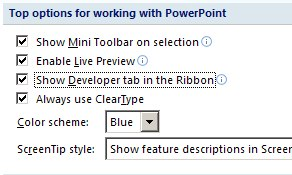 Show the Developer Tab in the Ribbon