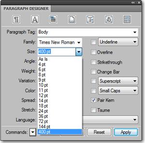 Adobe FrameMaker: Font Size list after editing the maker.ini file.
