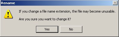 File name extension alert dialog box.